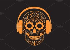 Skull vector with beats orange color by TeaGraphicDesign on @creativemarket