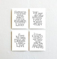 Set of Four - Harry Potter/Albus Dumbledore Quotes, Black and White Typography Print on Fine Art Paper