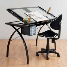 Futura Drafting Table with Glass Top - $164 Studio Designs' Futura Craft Station is great for drafting, drawing, or crafting on its large tempered safety-glass work surface. The table top angle adjusts up to 35 degrees. Features include a large pencil drawer, 4 removable side trays for supplies and 3 slide-out drawers for additional storage (mounts on either side of the table). A 24 pencil ledge slides up and locks into place if you'd rather keep pens, pencils, or brushes on the table top.