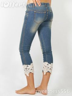 blue jeans with lace
