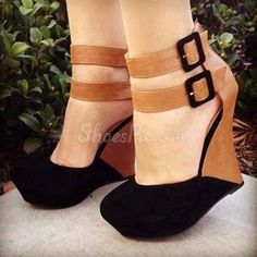 my style Stylish Contrast Colour Suede Wedge Sandals