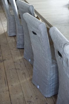 I love this... The fabric almost looks like denim and I love it against the wooden floor...