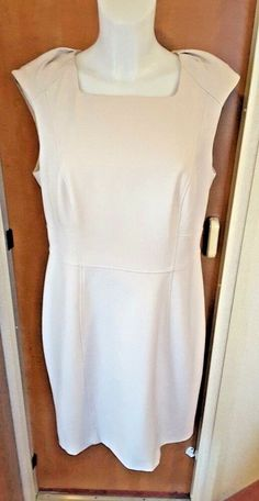 5fc7b7bbaed5 F amp F Ladies Cream Tailored Shift Dress Size 16 Work Office Special  Occasion  FF