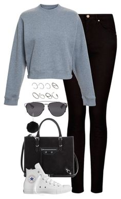 """Untitled #4802"" by eleanorsclosettt ❤ liked on Polyvore featuring MANGO, Acne Studios, Balenciaga, Converse, Christian Dior, Topshop and ASOS"