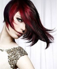 medium brown straight coloured multi-tonal asymmetrical hairstyles for women