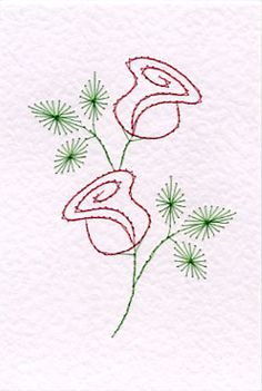 Free rose easy prick n' stitch greetings card pattern