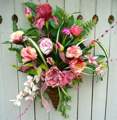 Natural Hanging Twig Basket   Pretty in Pink by NaturesTrueArt - full of flowers, very eye catching