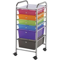Blue Hills Studio color Six-drawer Rolling Storage Scrapbooking and Craft Cart