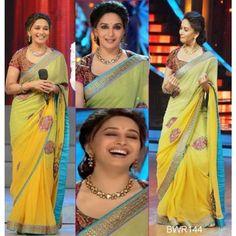 Madhuri Dixit Yellow Shaded Saree At Jhalak Dikhla Jaa  www.fashiongroop.com