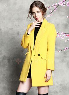 Coats & Jackets - $135.05 - Wool & Wool Blend As Picture Long Long Sleeve Lapel Coats & Jackets (01715092766)