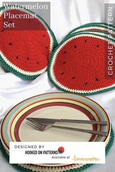Sliced Watermelon Placemat Set Crochet pattern by Hooked on Patterns Crochet Placemat Patterns, Crochet Coaster Pattern, Modern Crochet Patterns, Doily Patterns, Crochet Designs, Knitting Patterns, Doilies Crochet, Thread Crochet, Dress Patterns