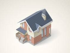 Vector building icon by Oleg Zherebin Zen Design, House Design, Minecraft, House 3d Model, Building Icon, Isometric Design, Low Poly 3d, Tiny World, Design Research
