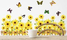 wall decoration stickers -YYone Sunflowers in Fence with Butterflies Yellow Wall Mural Flower Home Decor Sticker