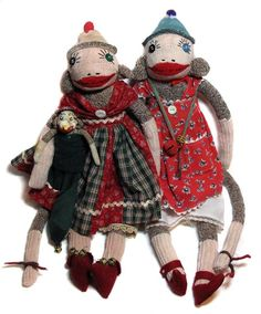 Christmas gals, 2011. Handmade classic red heel sock monkeys by Peng Peng. www.peng-peng.com