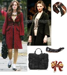 On Blair: Alannah Hill Winter 2007 'Crying In The Chapel' Coat, Jennifer Ouellette Extra Wide Stripe Turban Headband, Bloch Patent Ballet Flats, Be&D Kan Kan Ruffle Tote