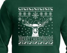 Long sleeve Christmas  T-shirt Shirt Moose Ugly Sweater design on a Long Sleeve t- shirt,Christmas Gift, Christmas t shirt, fun