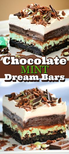 Chocolate Mint Dream Bars are the perfect No-Bake dessert! With a cookie crust, Andes Mints, peppermint, pudding and whipped topping, everyone is swooning! Mint Desserts, Trifle Desserts, Easy No Bake Desserts, Dessert Bars, Delicious Desserts, Dessert Recipes, Hot Fudge Cake, Hot Chocolate Fudge, Mint Chocolate