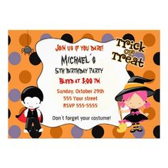 Halloween Birthday Costume Party Invitations.  $1.80