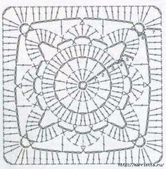 Белая подушка крючком квадратными мотивами. Схема (1) (437x448, 146Kb)