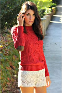 Theming a Red Cable Knitted Sweater with a lacy shorts ~ luv it!