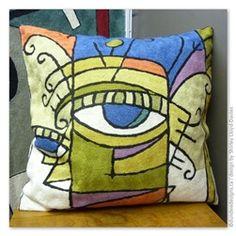 Geo Man - Design by Shirley Lloyd-Davies Dundee, Customizable Gifts, Cushion Filling, Men Design, Chain Stitch, Cushion Covers, Geo, Cashmere, Cushions