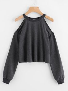 To find out about the Open Shoulder Raw Hem Heathered Pullover at SHEIN, part of our latest Sweatshirts ready to shop online today! Cut Up Shirts, Tie Dye Shirts, Teen Fashion Outfits, Casual Outfits, Womens Fashion, Fashion Fashion, Trendy Fashion, Fashion Ideas, Winter Fashion