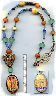Goddess Brigid Jewelry | Brigids antique glass/gemstone/copper/bronze necklace #2014