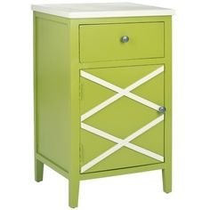 Safavieh Gard End Table ($147) ❤ liked on Polyvore featuring home, furniture, tables, accent tables, lime green, storage end table, lacquer table, colored furniture, home storage furniture y safavieh furniture