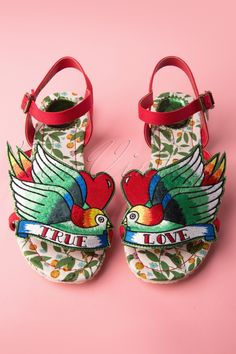 Miss L-Fire - 50s Love Bird Sandals with Embroidery