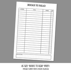 A5 Size BOOKS TO READ Insert for Kikki K and by LittlePinkPlanner