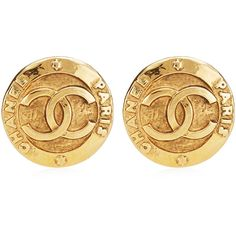 Vintage Chanel Large CC Clip Earrings From What Goes Around Comes... ($620) ❤ liked on Polyvore featuring jewelry, earrings, chanel, accessories, gold, circle jewelry, chanel earrings, circle earrings and clip earrings