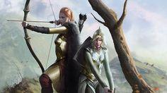 Female Warriors Picture  (2d, fantasy, illustration, warrior, female, archer, girls, bow, sword, armor)