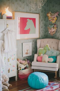 Romantic nursery from Design Sponge! #laylagrayce #nursery (Rose the cat top right!)