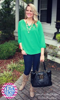 Look good in green and SAVE some green by shopping at Ella Bleu Boutique on Facebook! www.Facebook.com/EllaBleuBoutique