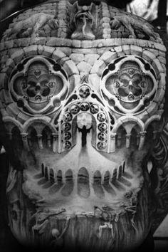 Amazing Mens 3d Church Window Optical Illusion Skull Back Tattoo Designs