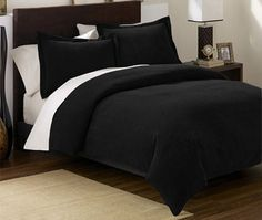 Chezmoi Collection 3 Pieces Solid Black Soft Micro Suede Comforter with Pillowcase Set Queen Size Bedding$44.99