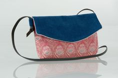 Sac bandoulière liberty, toile, imprimé plume rose, bleu, argent LOU par Sofkipeut : Sacs So Chouette