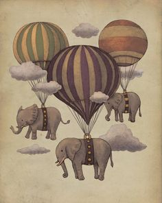 Flying Elephants! #flying #elephants #hot #air #balloons #clouds #art #print #drawing