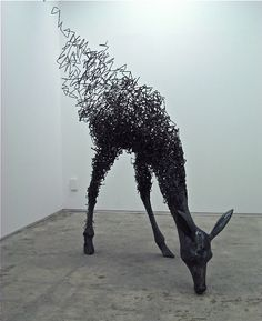 Beautiful metal deer sculpture