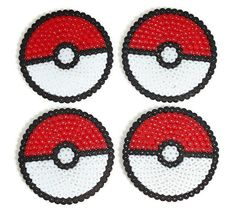 A set of 4 Pokemon Pokeballs coasters made from hama beads £5.00