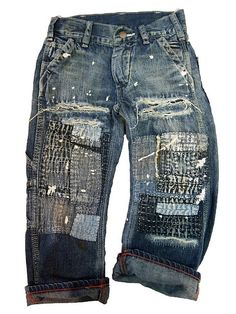 boro patched & sashiko stitched, mended jeans…  from the Denim Dungaree Jeans Collection