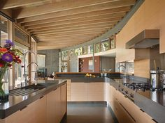 Douglas fir doors, windows, and millwork give the interior an all-of-a-piece quality.