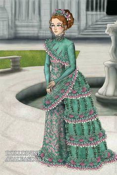 Green and Pink dress... by Inanna ~ High Fantasy Dress Up