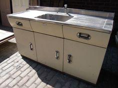 English Rose sink unit double drainer 50 s retro metal kitchen