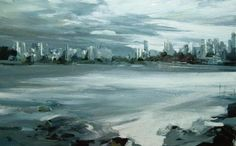 Low Tide Point Grey Morning. 30″ x 48″ CORTES COLLECTION leanne christie painting of Vancouver from Point Grey