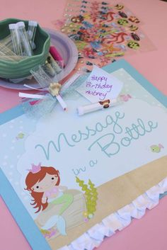 Fun message in a bottle activity at a mermaid girl birthday party! See more party planning ideas at CatchMyParty.com!