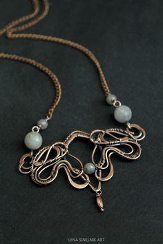 Copper pendant Wire wrap pendant wire wrap by LenaSinelnikArt
