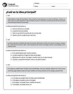 Spanish App For Kids Learn Spanish Free Adults Key: 2133316508 Spanish Worksheets, Spanish Teaching Resources, Spanish Language Learning, Main Idea Activities, Spanish Anchor Charts, Learn Spanish Free, Spanish Basics, Ap Spanish, Learning Sight Words
