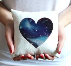 Galaxy Valentine Heart Pillow - FREE SHIPPING- Valentine's Day pillow - 6 x 6 Inches Decorative Pillow - Customize back with names.