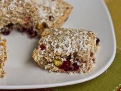 Tropical Lemon Cranberry Coconut Chia Bars by Oh She Glows